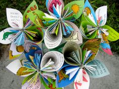 The Lorax Nursery Decor Dr Seuss Paper Flowers 5 Large by Greencycledesigns, $25.00