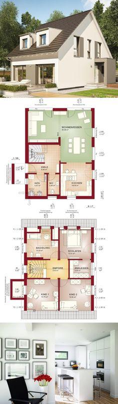 Einfamilienhaus Neubau Architektur modern mit Satteldach & Gaube - Haus bauen Grundriss Fertighaus Celebration 137 V4 Bien Zenker Einfamilienhäuser - HausbauDirekt.de