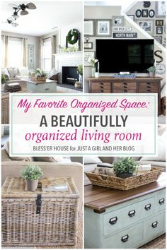 Love this gorgeous and organized living room from Lauren at Bless'er House! She really incorporates storage into the space so beautifully! Click through to the post to see how she does it!