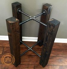 This simple design is a beautiful and unique solid wood beam and iron pipe table base. Finished with a stain of your voice (shown in Black Ebony) and black iron pipes. You will add your own glass, concrete or quartz top!  Base SHOWN in photos measures roughly 27 diameter x 28 Tall, and would fit a round table top of 48 diameter. Check out other size options, WE CAN MAKE THIS ANY SIZE. Message us for custom!  Does not come with a top or any attachments or pads for a top.