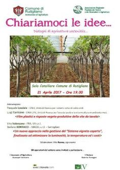 Oggi 21 Aprile, ore 19,00, in Sala Consiliare Comune di Rutigliano.  Seminario formativo per gli operatori dell'uva da tavola.
