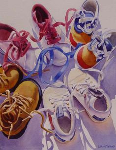Circle of Friends, Esther Melton Watercolor Paintings, Watercolours, Creative Artwork, Gcse Art, Painted Shoes, Beautiful Paintings, Artist At Work, Pottery Art, Art Drawings