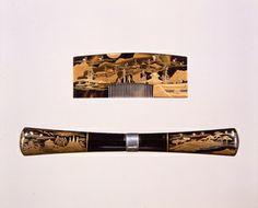 鼈甲台近江八景蒔絵櫛・木台笄、19世紀