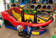 Inflatable Pirate Ship Jumpy Slide Obstacle Bounce House - Affordable Moonwalk Rentals - Covington, Georgia