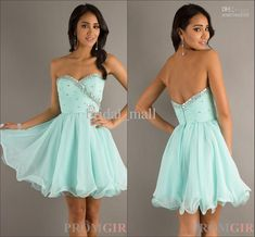 Wholesale Aqua Color Graduation Dresses Short Mini length Chiffon Beadings Prom Dresses XJ95, Free shipping, $90.91/Piece | DHgate
