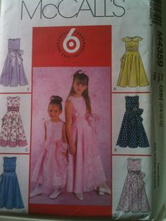 McCall's #M4359. Girls' dresses and sashes, size 7-12. Copyright 2004.