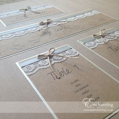 The Thumbelina Collection - Table Plan Seating Chart | Featuring natural brown kraft card, ivory ribbon, ivory lace and twine bow | Luxury handmade wedding invitations and stationery #byenchanting
