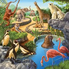 Animals in the zoo illustration by anne wertheim directory o Jungle Animals, Forest Animals, Baby Animals, Funny Animals, Wild Animals, Puzzles Für Kinder, In The Zoo, Welcome To The Jungle, Animal Sketches