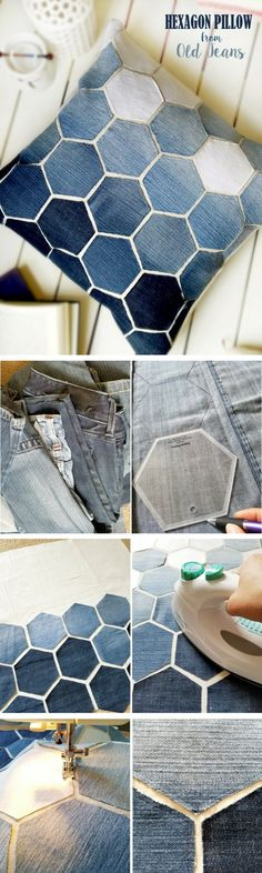 Check out how to make a DIY decorative hexagon pillow form old jeans Industry Standard Design