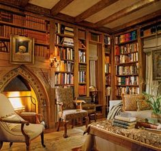home library decor ideas (LOVE the shape of the fireplace!)...use heater from m in library, and possibly marble topped table.