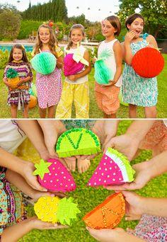 Adorable large fuit honeycombs & mini fruit piñatas!