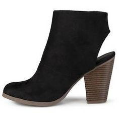 Women's Journee Collection Tay Faux Suede Cut-Out Heel Booties : Target