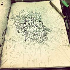 "@alessruiz's photo: ""#Sketch #volcano #draw #artwork #design #rocks #Lava #Graphic #personal #pencil #pen #ink"""