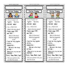 Reading Partner Bookmarks- Daily 5
