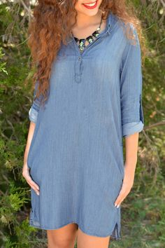 Rolled Sleeve Chambray Shirt Dress - Very me!