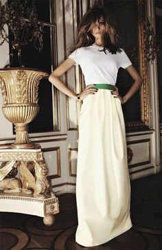 white t-shirt, floor length cream skirt