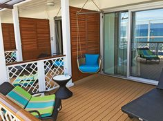 The patio of a Havana Cabana suite includes a swing chair. Photo Credit: Tom Stieghorst CruiseRunners.com