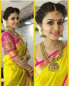 Indian bridal wear yellow saris Ideas for 2019 Beautiful Blouses, Beautiful Saree, Beautiful Bride, Beautiful Flowers, Cotton Saree, Silk Sarees, Cotton Silk, Indian Sarees, Indian Wedding Sarees