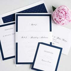 elegant white and navy blue wedding invitations ~ we ❤ this! moncheribridals.com