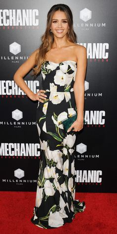 Jessica Alba made an entrance at the Mechanic: Resurrection premiere in a bold floral-print corseted Dolce & Gabbana gown, adding the right amount of shine with Bulgari diamonds and a sparkly teal Edie Parker clutch.