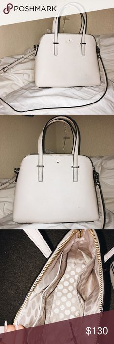 50% OFF💕💕 KATE SPADE Cedar Street Maise Satchel SELLING FOR HALF OFF!! Creamy white Kate Spade Satchel purse. Bought in January and only have used it a few times, decided to downsize back into my smaller purse :) I circled the small black mark on the purse just so there were no surprises if you buy it, it's literally unnoticeable I just wanted to make sure I noted that it was there if u look super close! Very spacious, cute, and comfy to wear! kate spade Bags