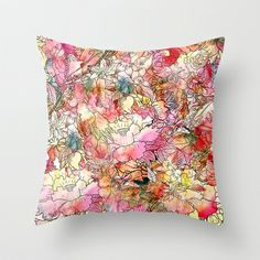 Summer Flowers | Colorful Watercolor Floral Pattern Abstract Sketch Throw Pillow by Girly Trend - $20.00