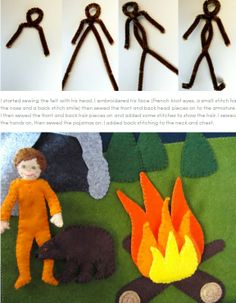Making bendy people for quiet books! Later on the page is a working LED lantern for the camping page!