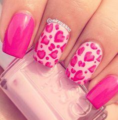 Pink heart. Valentine's nails