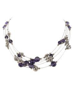 Stationed Wire NecklaceStationed Wire Necklace, Royal Purple/Rhodium