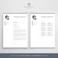 Make your resume, cover letter and references look fantastic and consistent with a modern, creative and professional resume template pack. One Page Resume Template, Modern Resume Template, Creative Resume Templates, Creative Cv, Cover Letter For Resume, Cover Letter Template, Letter Templates, Cover Letters, Resume References