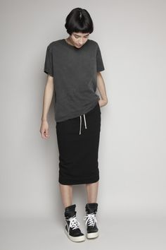 skirt and Rick Owens sneakers