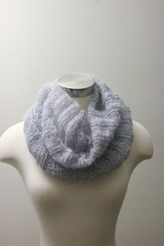 Grey Scarf /Knit Infinity Scarf / Cowl / Knit Accessories / Neckwarmer
