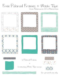 12 Awesome Freebies! 6 Patterned Polaroid Frames with 6 matching Washi Tape strips!