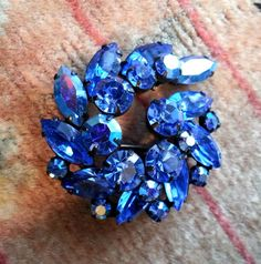 Vintage Sapphire Blue Rhinestone Brooch - Signed Regency Jewels Designer Pin