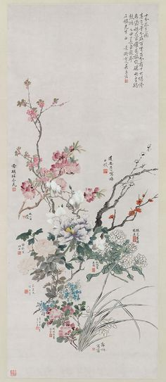 ☆The colors of spring Chinese 1925 Ms. Japanese Artwork, Japanese Painting, Chinese Painting, Chinese Prints, Chinese Flowers, The Colour Of Spring, Spring Painting, China Art, Museum Of Fine Arts