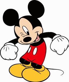 Mickey Mouse gives a wink and looks ready to jump for joy.