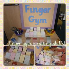 Cutting skills at the finger gym this week: paint colour samples for practising straight lines and cutting box to practise zig zags and curves. Selection of scissors available.