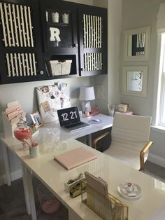 Pink Gold Black and Gold Office