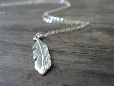 Feather Jewelry LONG Silver Necklace Silver by AnnalisJewelry, $42.00