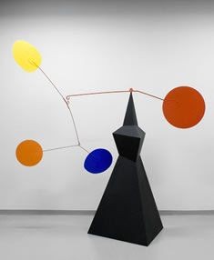 Alexander Calder: sculpted mobiles with forms suspended by wire moved by wind currents.