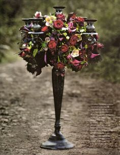 Candelabra w/Red & Deep Purple Flowers