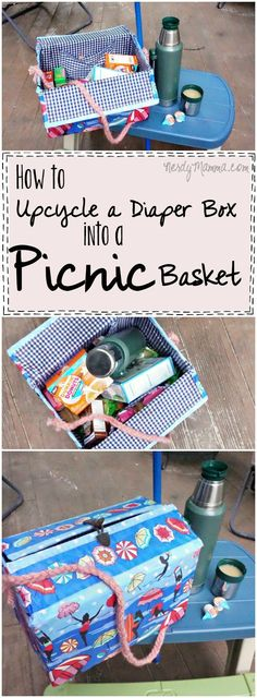 I love this quick tutorial on how to turn a diaper box into a picnic basket! So easy...and just what I need to cart lunches around this summer! #ad #DunkinCreamers #cbias