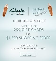 Play and you could win a Clarks gift card in the Clarks Perfect Pair Sweepstakes & Instant Win Game! Check it out now. Instant Win ends 5/31/16.
