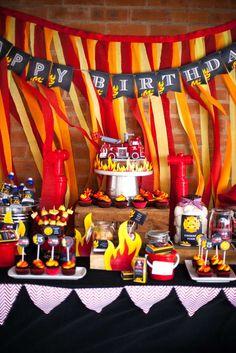 Fireman Birthday Bash - Firefighter Party Ideas - Pretty My Party Fourth Birthday, 4th Birthday Parties, Birthday Party Decorations, Birthday Bash, Fire Truck Birthday Party, 19th Birthday, Birthday Ideas, Happy Birthday, Fireman Party