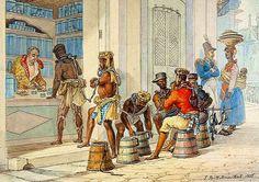 """Quadro """"Loja de Rapé"""", aquarela inacaba do pintor Jean-Baptiste Debret"""