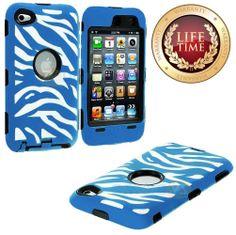 Amazon.com: myLife (TM) Light Blue + Black Zebra Stripes Hybrid Survivor (Built In Screen Protector) Case for iPod 4/4S (4G) 4th Generation ...