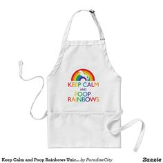 Keep Calm and Poop Rainbows Unicorn Adult Apron