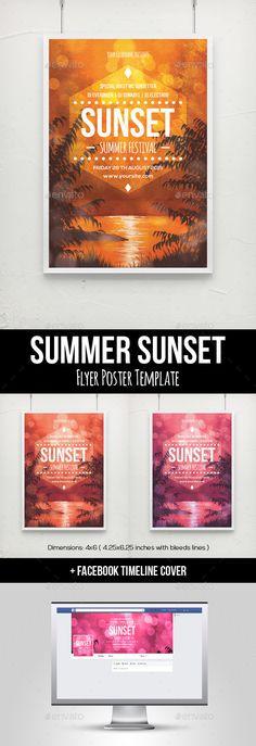 Summer Sunset Flyer Poster Template - Clubs & Parties Events