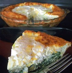 Layered Crustless Quiche with Sour Cream Topping