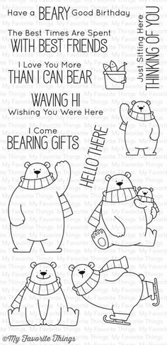 My Favorite Things Clear Stamps Polar-Bären / Polar Bear Pals My Favorite Things Polar Bear Pa Polar Bear Drawing, Baby Polar Bears, Mft Stamps, Theme Noel, Love You More Than, Wish You Are Here, Simon Says Stamp, Digital Stamps, Clear Stamps
